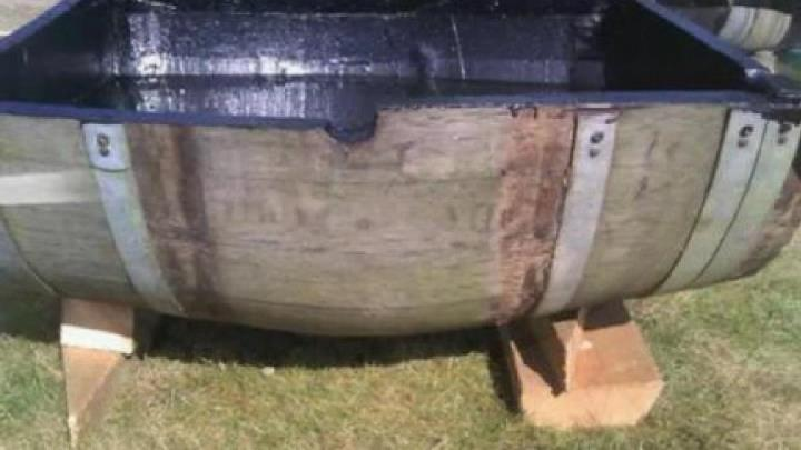 making a water feature out of a wine barrel with Dura-Rubber liquid rubber