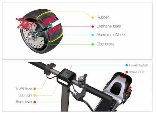 widewheel electric scooter with foam tires